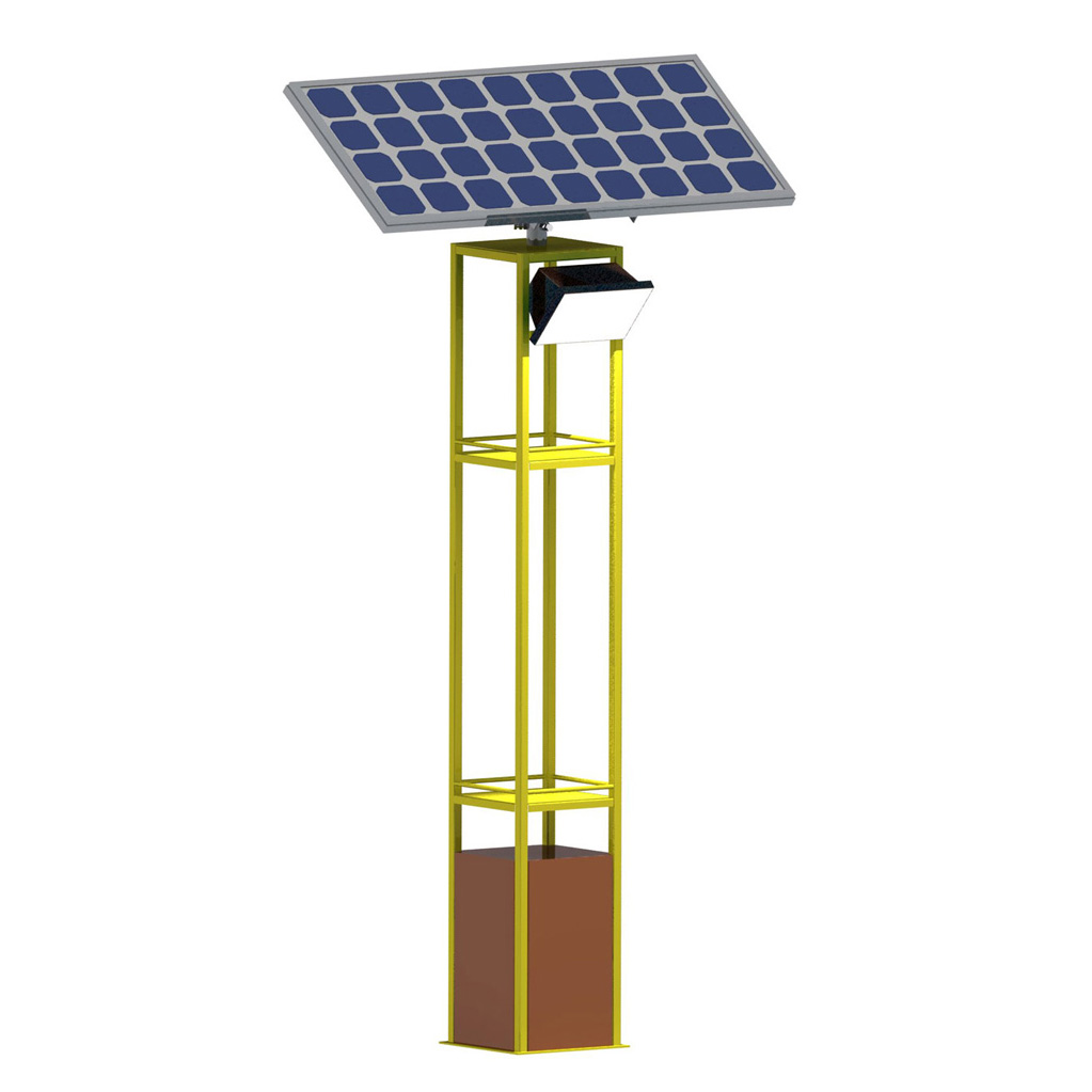 Street lanterns equipped with solar panels