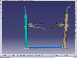 Twin-pillar hydraulic lift platform for the cars