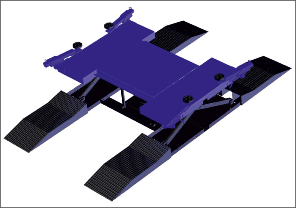 The pneumatic lift platform for the cars